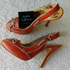 Guess Leather Orange Slingback Shoes Sz 9.5